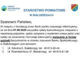 W związku z likwidacją przez Bank punktu kasowego informujemy że od dnia 01.09.2020 wszystkie opłaty komunikacyjne dokonujemy wyłącznie w formie gotówki bezpośrednio w okienku kasowym Banku Spółdzielczego w Białobrzegach