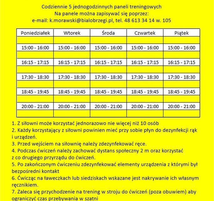 godziny pracy siłowni kontakt telefoniczny 613 34 14 wewnętrzny 105