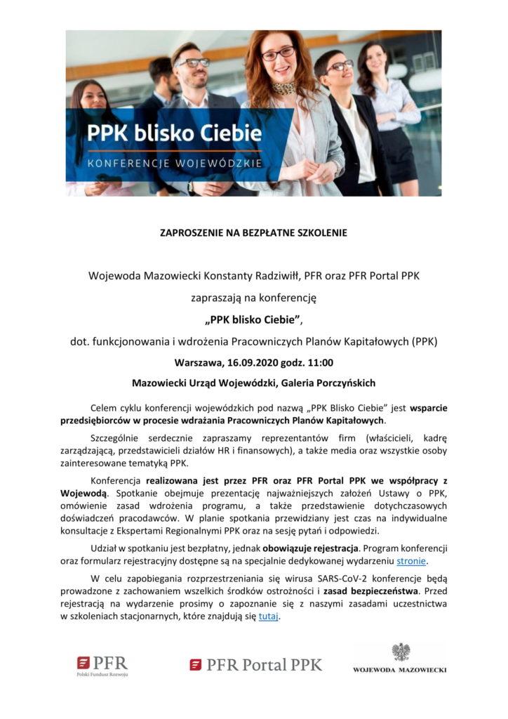 Bezpłatne szkolenie Warszawa dotyczące funkcjonowania i wdrożenia Pracowniczych Planów Kapitałowych. 16.09.2020 godzina 11, Warszawa Galeria Porczyńskich